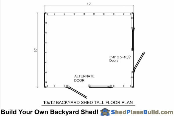 10x12 Backyard Tall Shed Floor Plan