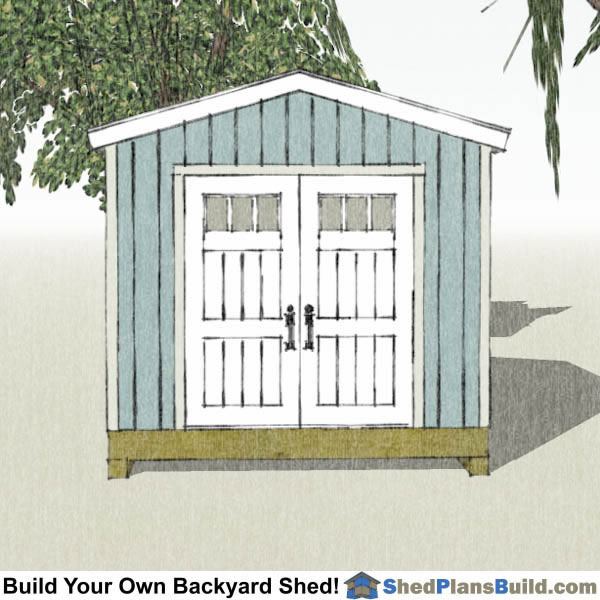 10x12 Backyard Tall Shed Plans End View