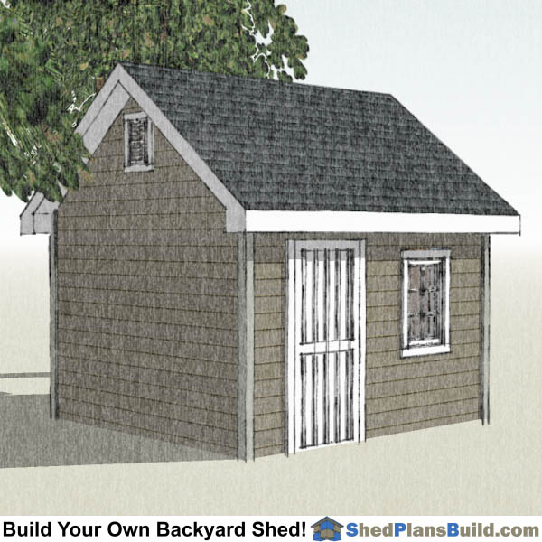 10x12 Garden Shed Plans Left Rear