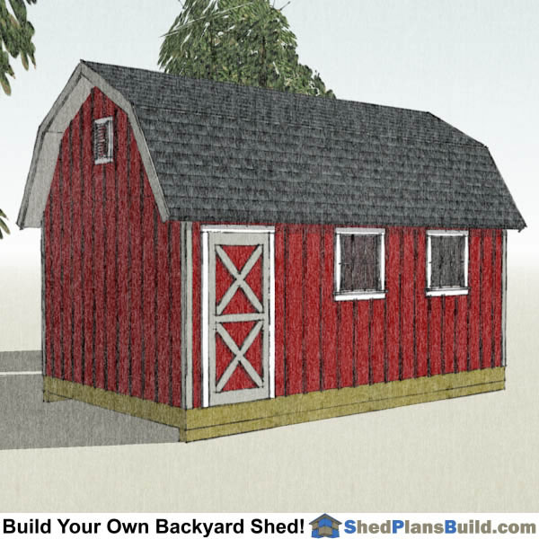 12x20 Gambrel Shed Plans Left Rear