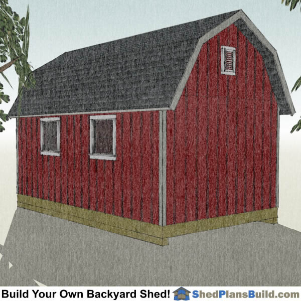 12x20 Gambrel Shed Plans Right Rear