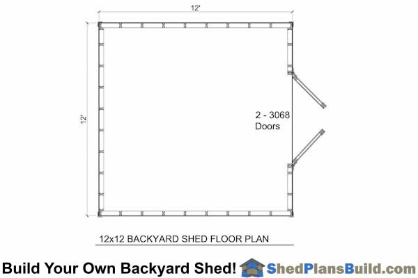 12x12 Backyard Shed Floor Plan