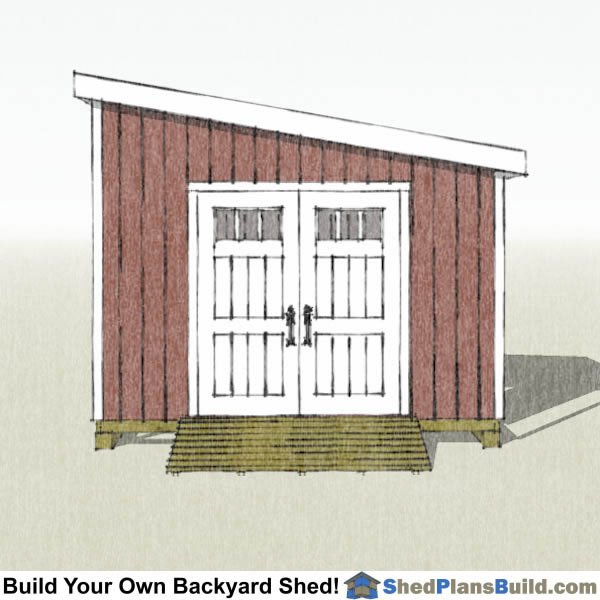 12x12 Lean To Shed Plans End View