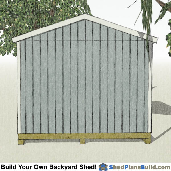 12x16 Backyard Shed Plans End View
