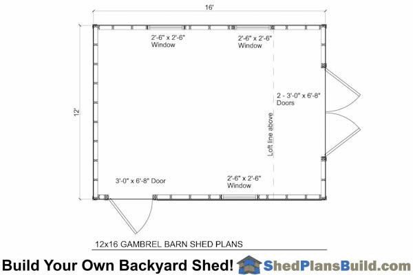 12x16 Gambrel Shed Floor Plan