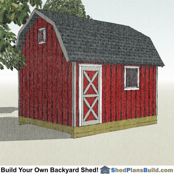 12x16 Gambrel Shed Plans Left Rear