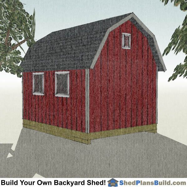 12x16 Gambrel Shed Plans Right Rear