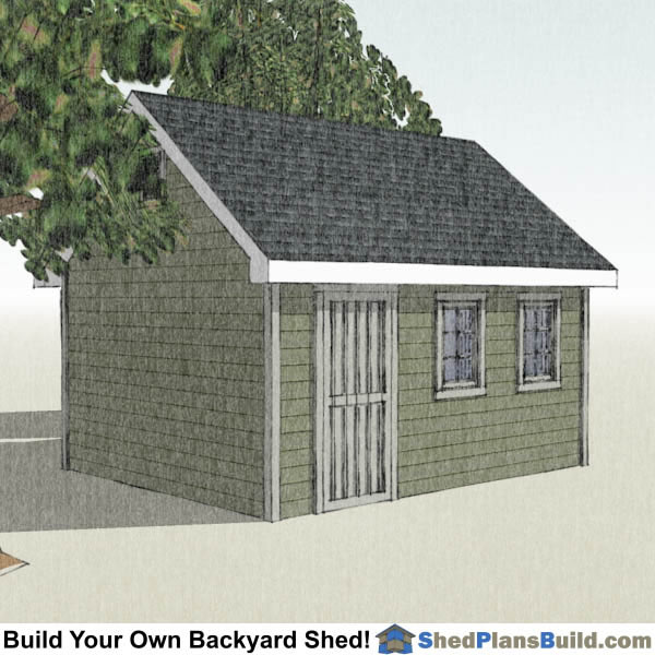 12x16 Garden Shed Plans Left Rear