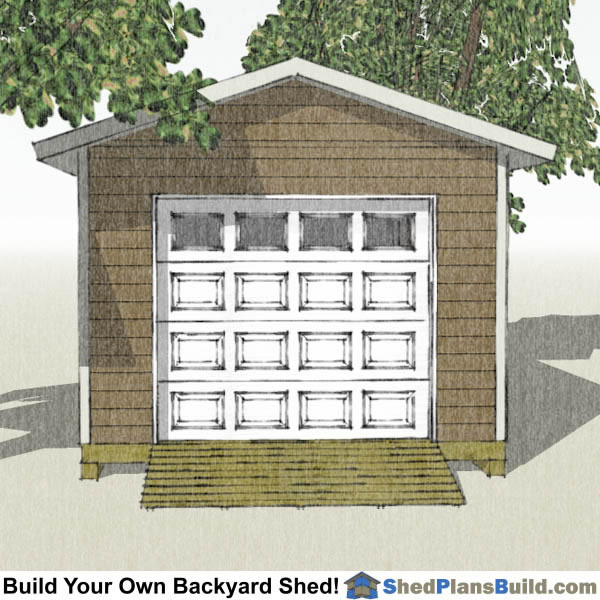 12x20 Garage Door Shed Plans End View