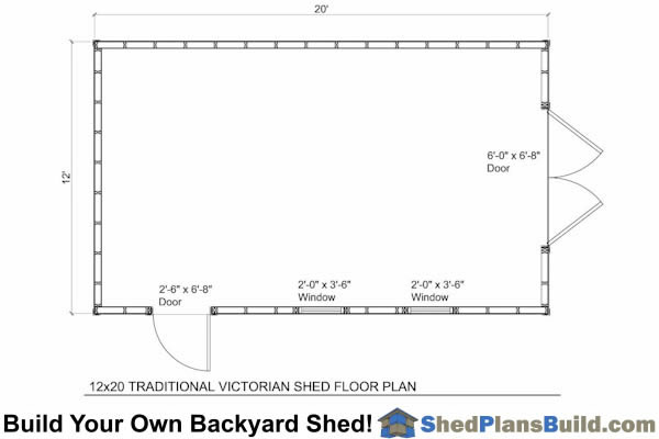 12x16 Traditional Victorian Garden Shed Floor Plan