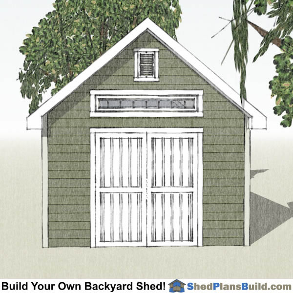 12x20 Garden Shed Plans End View