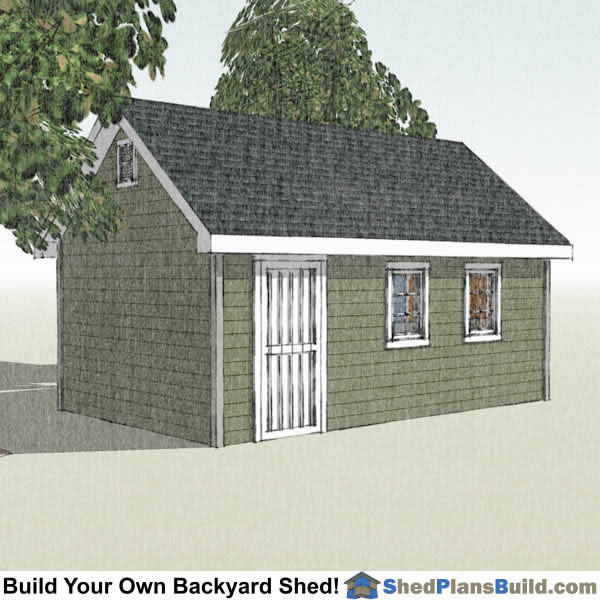 12x20 Garden Shed Plans Left Rear