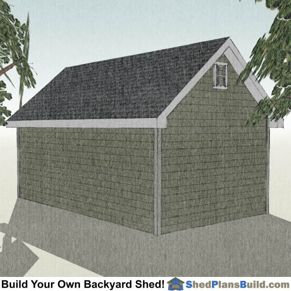 12x20 Garden Shed Plans Right Rear