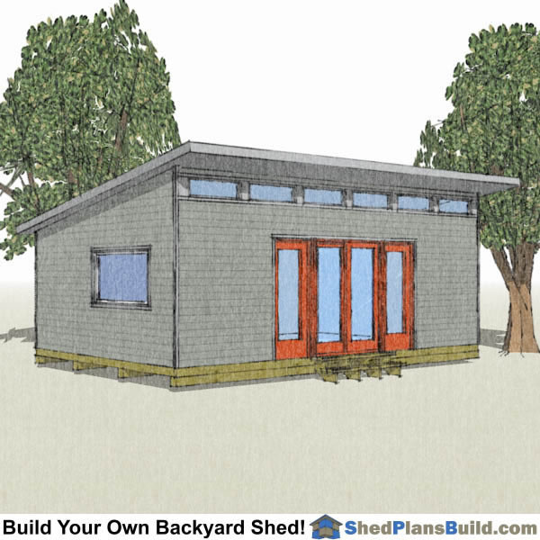 16x24 Modern Shed Plans