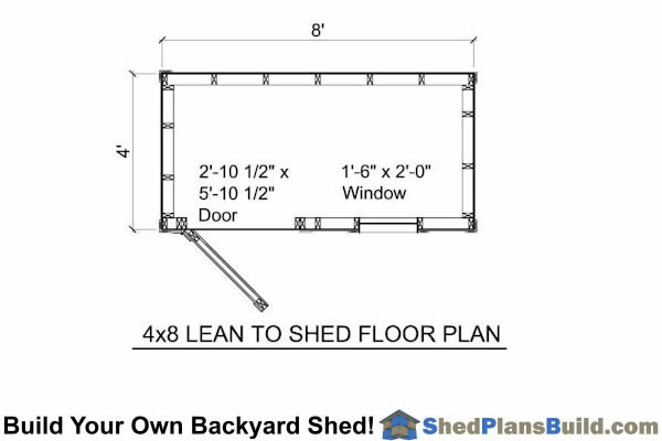 4x8 Lean To Shed with window Floor Plan
