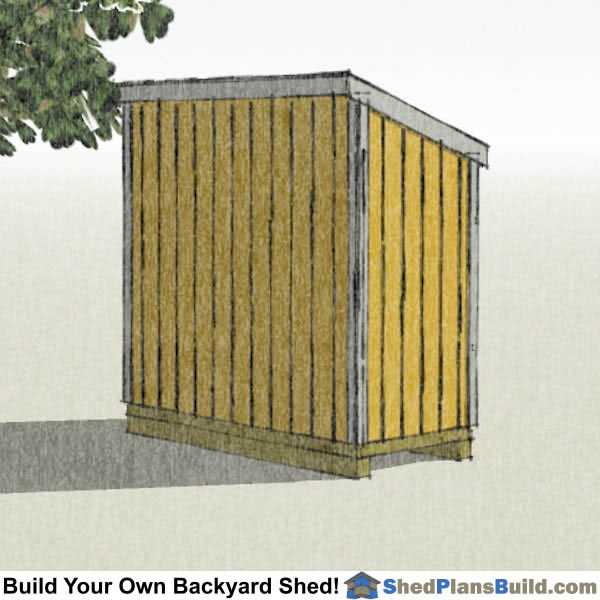 4x8 Lean To Shed Plans with window Left Rear