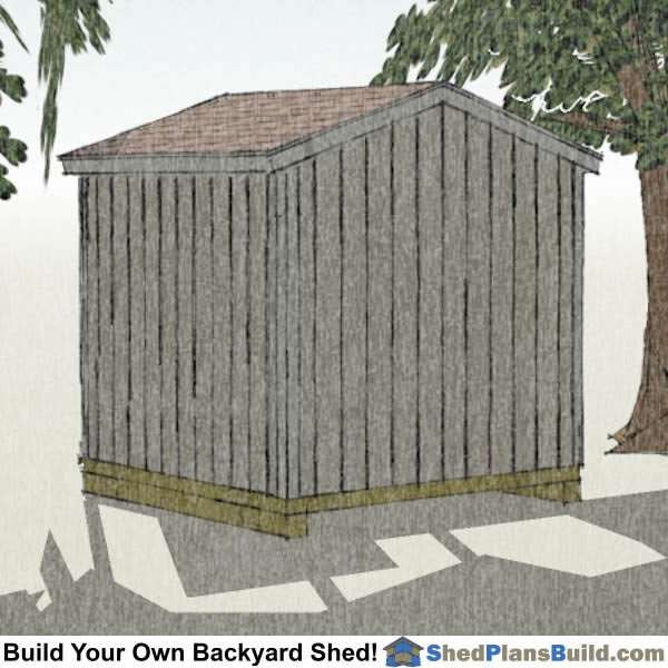 8x8 Backyard Shed Plans Right Rear