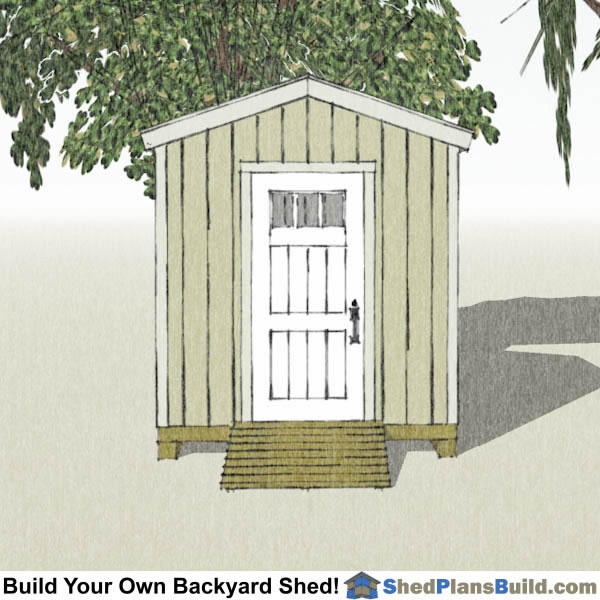 8x8 Backyard Tall Shed Plans End View