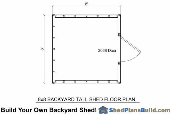 8x8 Backyard Tall Shed Floor Plan