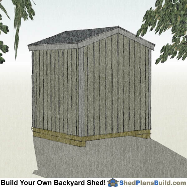 8x8 Backyard Tall Shed Plans Right Rear