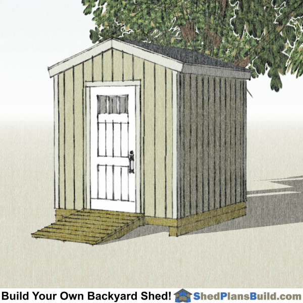 8x8 Backyard Tall Shed Plans Left Rear