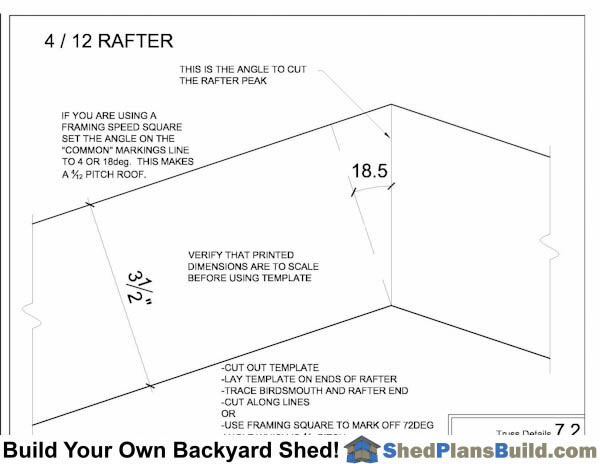 Roof Rafter Angle Cut For 4 in 12 Rafters